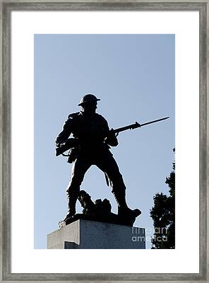 Statue Silhouette World War Memorial Victoria Bc Framed Print by Andy Smy