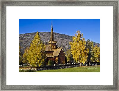Stave Church In Lom Framed Print by Heiko Koehrer-Wagner