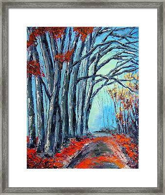 Stay On The Path. Palette Knife Oil Painting. No Brush. Framed Print