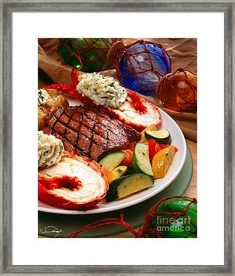 Steak And Lobster Framed Print by Vance Fox