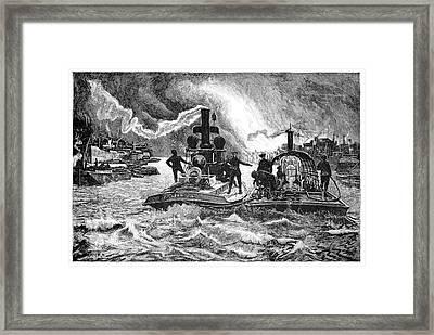 Steam Fireboats, 19th Century Framed Print