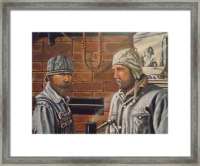 Framed Print featuring the painting Steam Fitters At The Mill by James Guentner