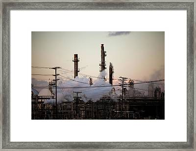 Steam Plumes At Oil Refinery Framed Print by Hal Bergman