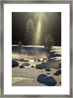 Steam Rises Off The Snow-covered River Framed Print by Phil Schermeister