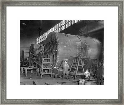 Steam Ship Boilers Under Construction Framed Print
