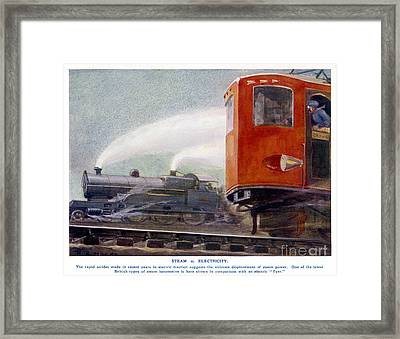 Steam Trains Versus Electric Framed Print by Mary Evans and Photo Researchers