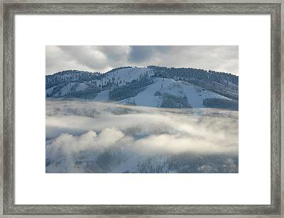 Framed Print featuring the photograph Steamboat Ski Area In Clouds by Don Schwartz