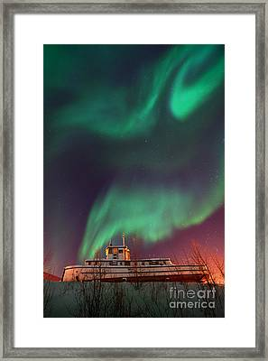 Steamboat Under Northern Lights Framed Print by Priska Wettstein