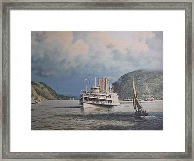 Steamboats On Newburgh Bay William G Muller Framed Print by Jake Hartz