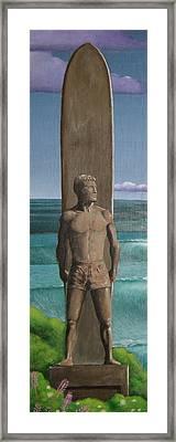 Steamer Lane Statue Framed Print by Tim Foley