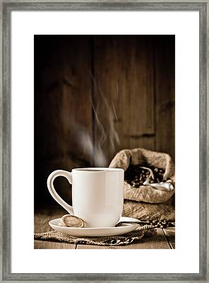 Steaming Coffee Framed Print by Amanda Elwell