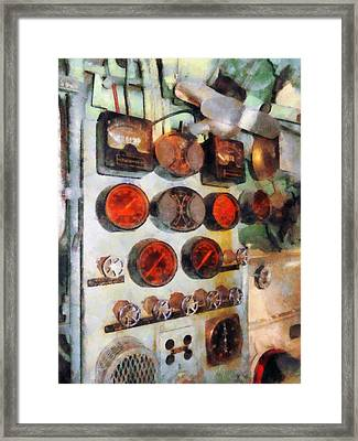 Steampunk - Gauges In Engine Room Framed Print by Susan Savad