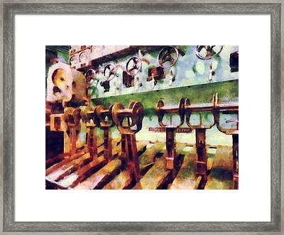 Steampunk - Levers In Underwater Vessel Framed Print by Susan Savad