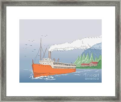 Steamship Steamboat Vintage Framed Print by Aloysius Patrimonio