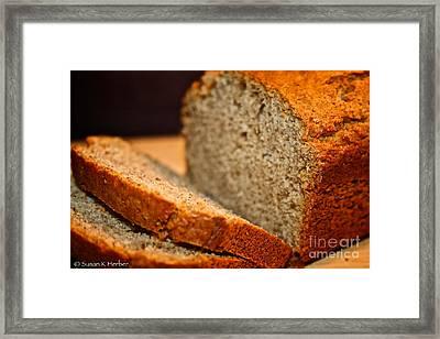 Steamy Fresh Banana Bread Framed Print by Susan Herber