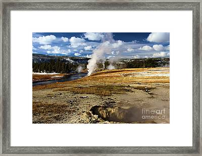 Steamy In Yellowstone Framed Print