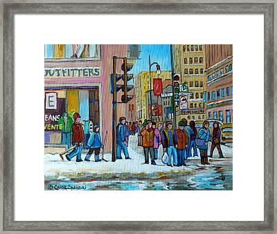 Ste.catherine And Peel Streets Framed Print by Carole Spandau
