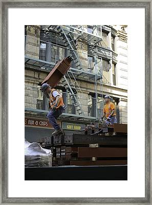 Steel And Girders Framed Print by Cathy Brown