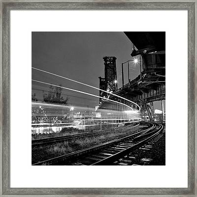 Steel Bridge With Train Passing Framed Print