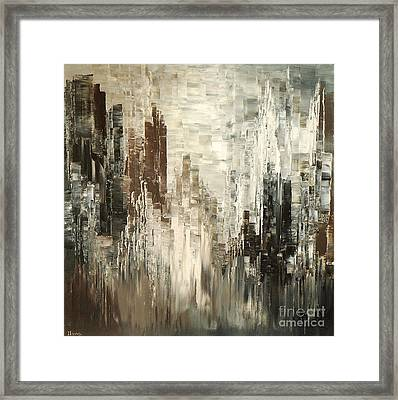 Framed Print featuring the painting Steel Towers by Tatiana Iliina