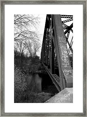 Steel Train Bridge Framed Print by Ms Judi