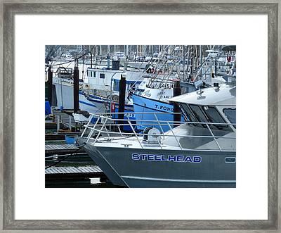 Steelhead And Fishing Boats Framed Print by Jeff Lowe