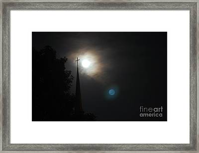 Steeple And Two Moons Framed Print