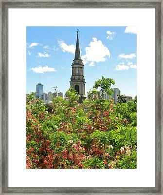 Framed Print featuring the photograph Steeple Peeks Through Shower Trees by Craig Wood