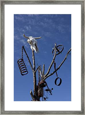 Steer Skull In Tree Framed Print by Garry Gay