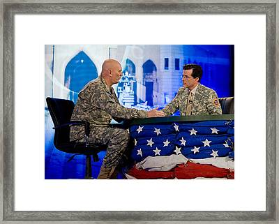 Stephen Colbert Interviews Marine Framed Print by Everett