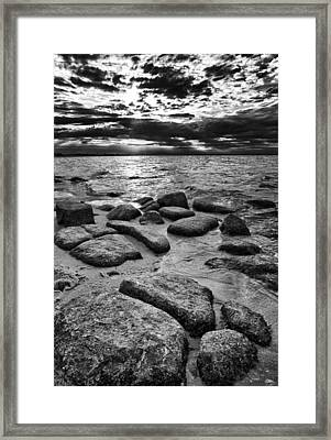 Stepping Stones On Great South Bay Framed Print by Rick Berk