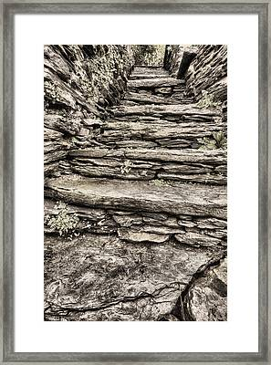 Stepping Through Time Black And White Framed Print by JC Findley