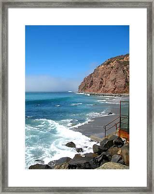 Steps To The Beach. Dana Point California Framed Print by Connie Fox