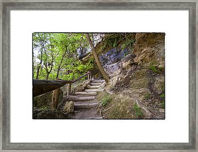 Steps To The Cave Framed Print