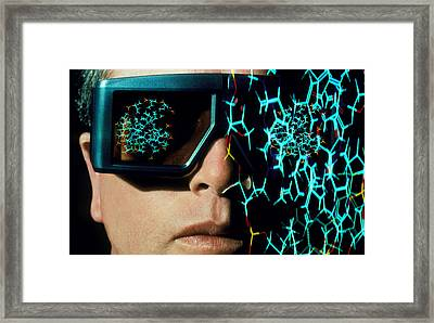 Stereo Glasses To View 3-d Shape Of Molecule Framed Print by Geoff Tompkinson