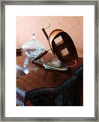 Stereopticon With Glass Bowl Framed Print by Susan Savad