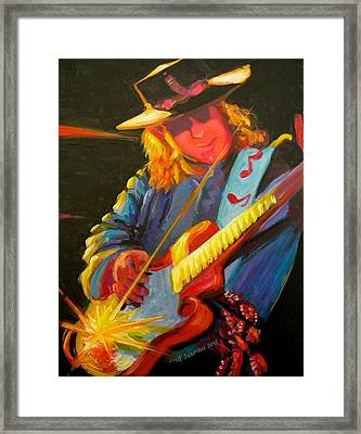 Stevie Ray Vaughn Framed Print by Jeanette Jarmon