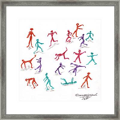 Stickmen October Two Thousand One Framed Print by Carl Deaville