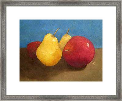 Still Life Apples And Pears Framed Print
