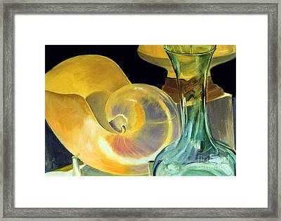 Still Life Green And Yellow Framed Print