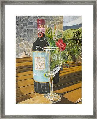 Still Life In Chianti Framed Print by John Schuller