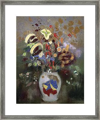 Still Life Of A Vase Of Flowers Framed Print by Odilon Redon