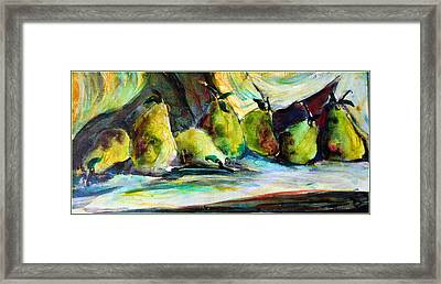 Still Life Of Pears Framed Print by Mindy Newman