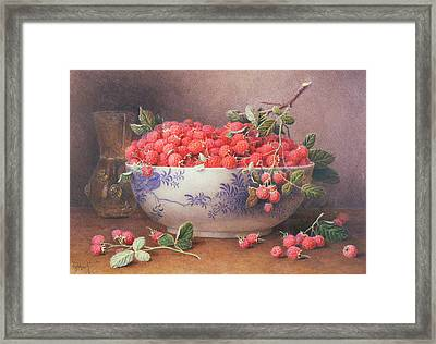 Still Life Of Raspberries In A Blue And White Bowl Framed Print by William B Hough
