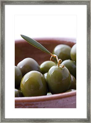 Still Life Of Spanish Campo Real Olives Framed Print by Frank Tschakert