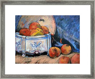 Framed Print featuring the painting Still Life Peaches by Tom Roderick