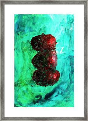 Still Life Red Apples Stacked On Green Table And Wall Fruit Is About To Topple Smush Impressionistic Framed Print by M Zimmerman MendyZ