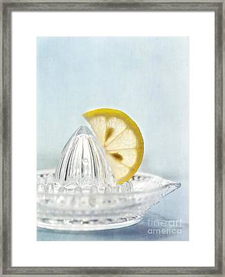 Still Life With A Half Slice Of Lemon Framed Print by Priska Wettstein