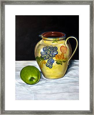 Still Life With Apple And Pitcher Framed Print by John OBrien