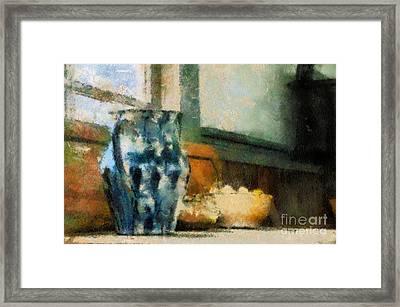 Still Life With Blue Jug Framed Print by Lois Bryan